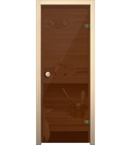 Межкомнатные двери  Дверь стеклянная для бани/сауны «Кноб Е»  Бронза тонированное