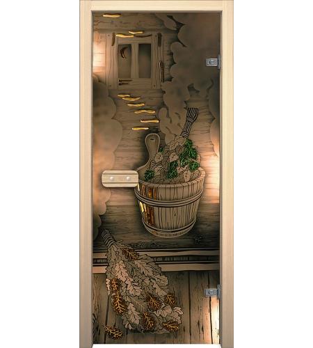 Межкомнатные двери  Дверь стеклянная для бани/сауны «Парилка»  Бронза тонированное