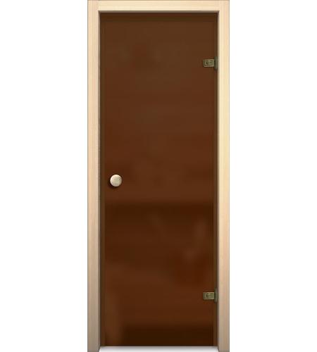 Межкомнатные двери  Дверь стеклянная для бани/сауны «Кноб Е»  Бронза Сатинато