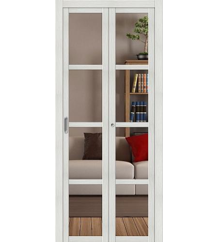Складные двери  Дверь складная «Твигги V4 Crystalline»  Bianco Veralinga