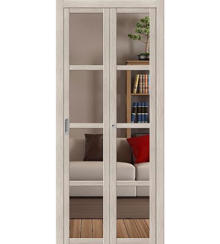 Складные двери  Дверь складная «Твигги V4 Crystalline»  Cappuccino Veralinga