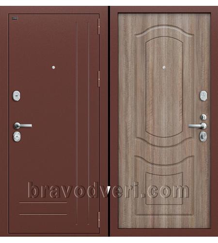 Входные двери  Р2-210  Антик Медь/П-1 (Темный Орех)