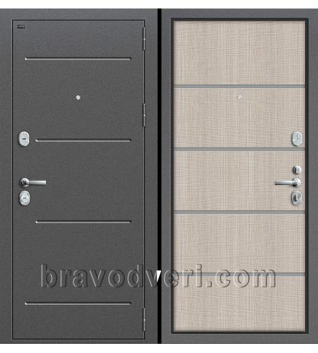 Входные двери  T2-204  Антик Серебро/Cappuccino Crosscut