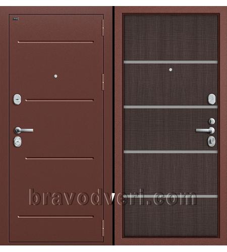 Входные двери  T2-204  Антик Медь/Wenge Crosscut