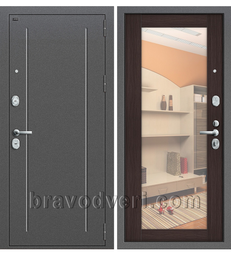 Входные двери  T2-220  Антик Серебро/Wenge Veralinga