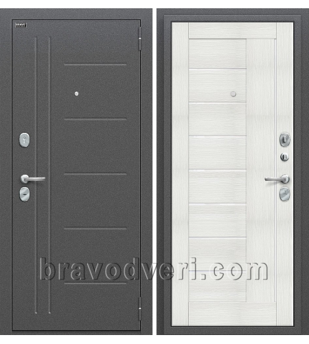 Входные двери  Проф  Антик Серебро/Bianco Veralinga